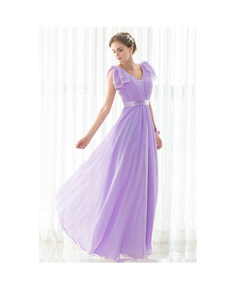 Purple Long Pleated Chiffon Elegant Bridesmaid Dress