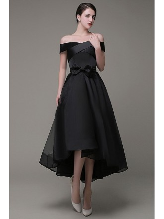 Elegant A-line Off-the-shoulder Organza High Low Evening Dress