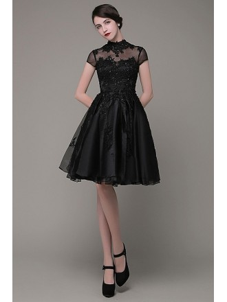 A-line High Neck Organza Short Prom Dress With Cap Sleeves