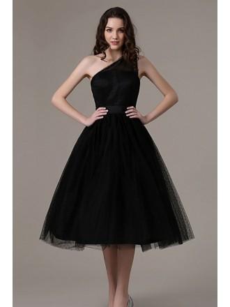 A-line One Shoulder Tulle Knee-length Formal Dress