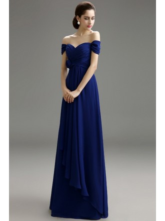 A-line Off-the-shoulder Chiffon Floor-length Formal Dress