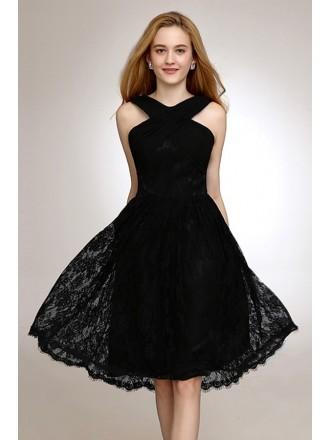 A-line Halter Lace Knee-length Formal Dress