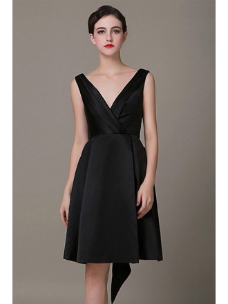 Chic A-line V-neck Short Satin Formal Dress With Bow