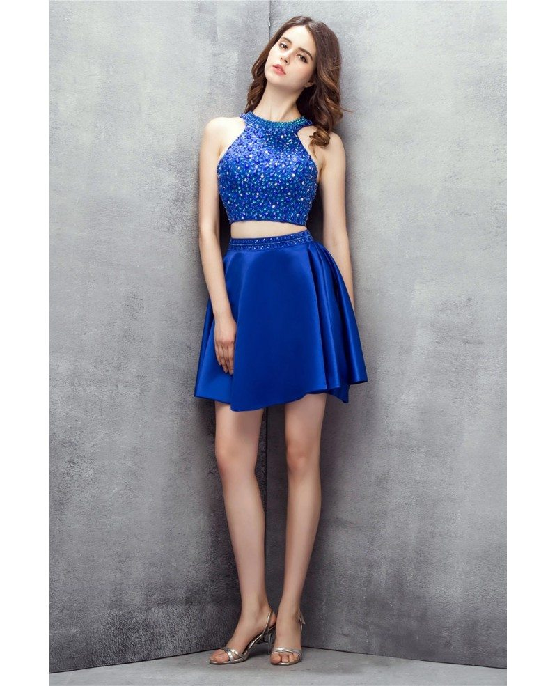 Bling Sequins Royal Blue Two Pieces Satin Short Prom Dress #YH0106 ...