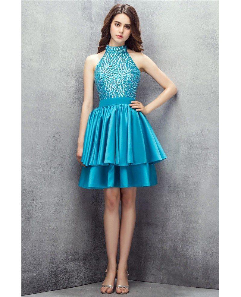 Beaded Short Halter Pool Prom Dress #YH0109 $125 - GemGrace.com