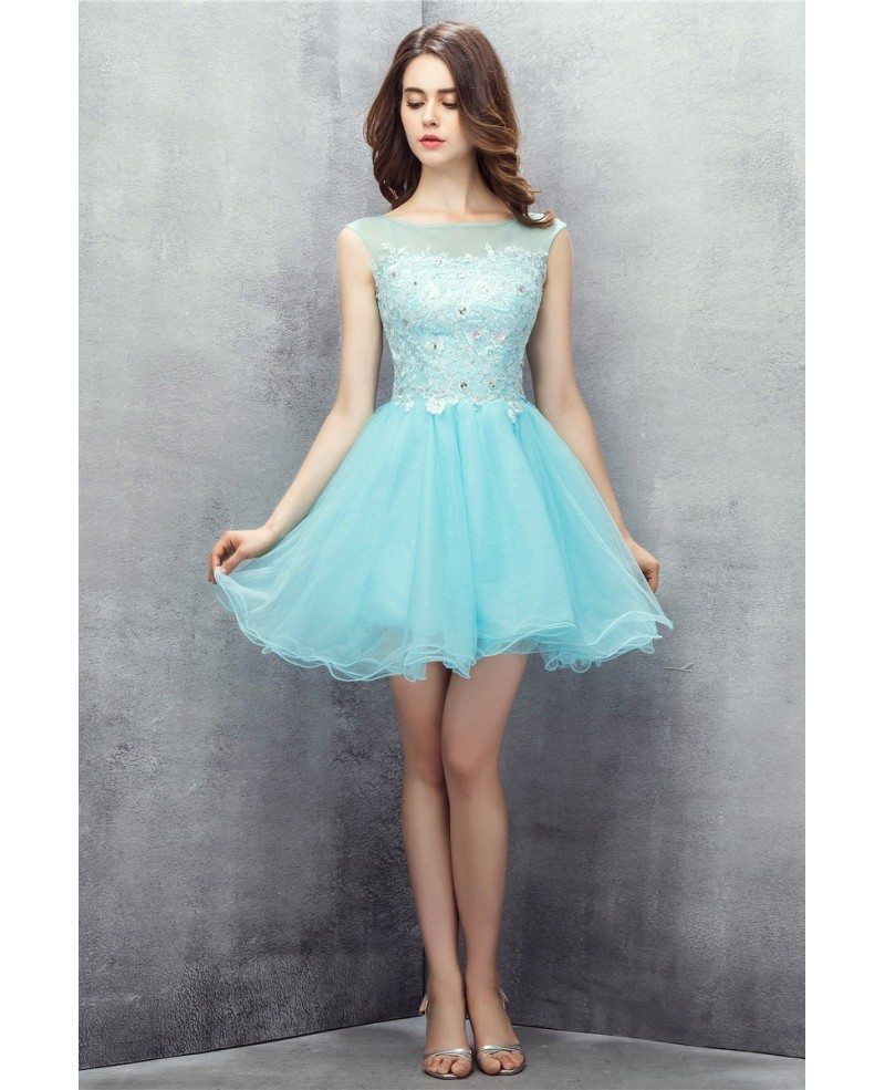 Cute Sky Blue Tulle Short Prom Dress #YH0110 $122 - GemGrace.com