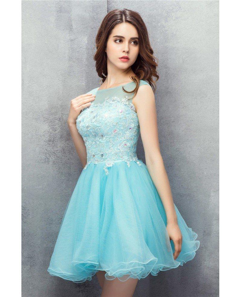 Cute Sky Blue Tulle Short Prom Dress #YH0110 $122 - GemGrace.com