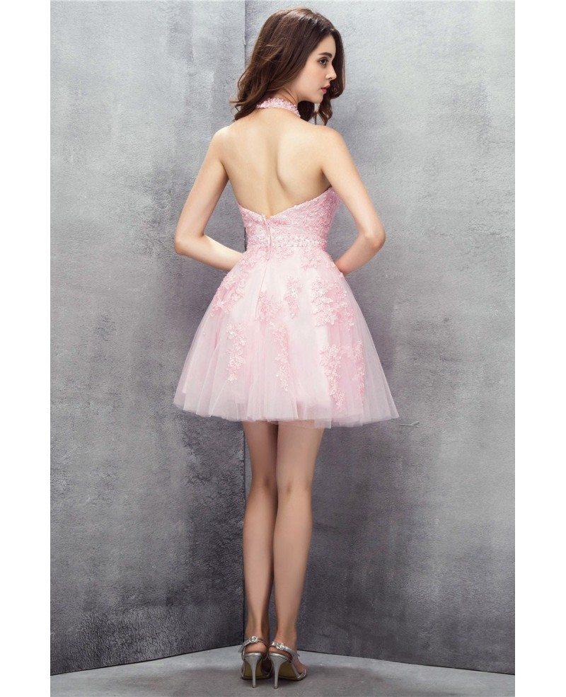 Pink Short Halter Lace Tulle Prom Dress #YH0113 $122 - GemGrace.com