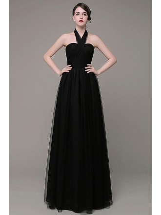 A-line Halter Tulle Floor-length Bridesmaid Dress