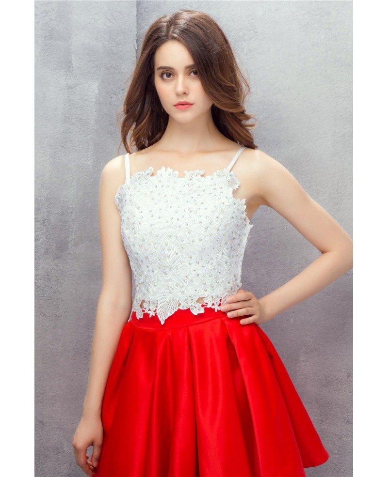 Red And White Formal Dresses: Red And White Spaghetti Straps Short Lace Prom Dress