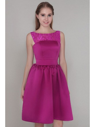 A-line Scoop Neck Satin Short Bridesmaid Dress With Lace