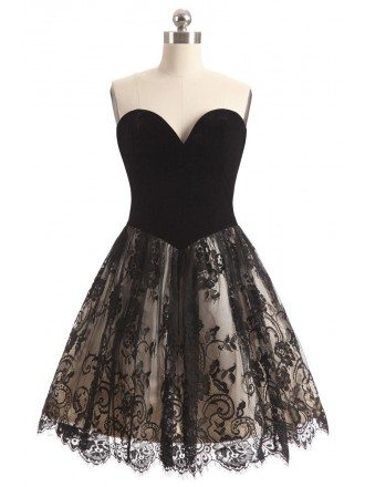 Black Lace Sweetheart Cocktail Short Party Dress
