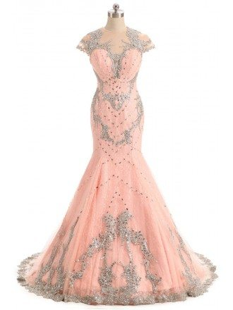 Embroidered Cap Sleeve Mermaid Long Pink Prom Dress Sweep Train