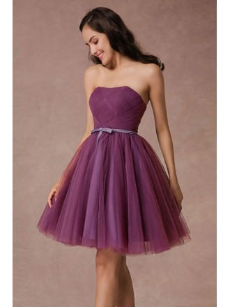 A-line Strapless Short Tulle Pleated Bridesmaid Dress