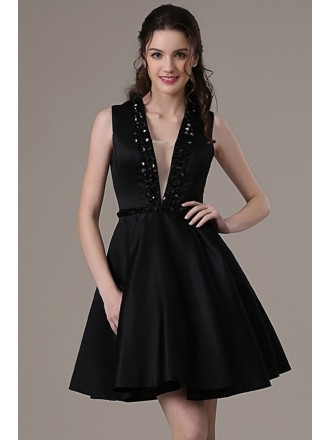Chic A-line V-neck Short Satin Prom Dress With Beading