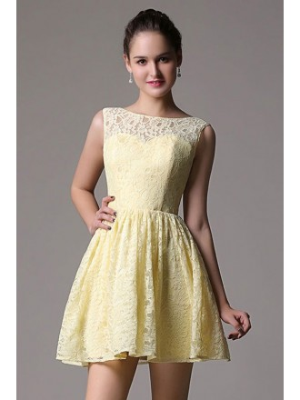 A-line Scoop Neck Short Lace Bridesmaid Dress With Open Back