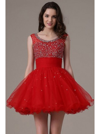 Chic A-line Scoop Neck Short Prom Dress With Beading