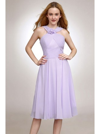 A-line Halter Chiffon Knee-length Bridesmaid Dress