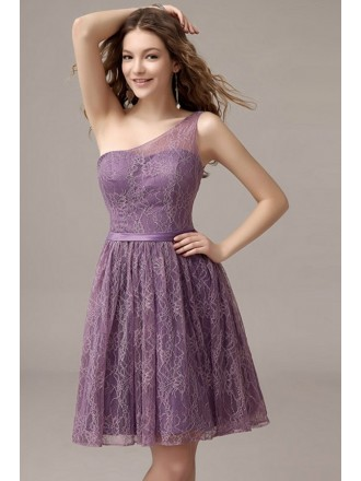 A-line One-shoulder Lace Short Bridesmaid Dress