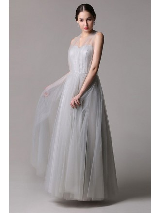 A-line Sweetheart Tulle Floor-length Bridesmaid Dress
