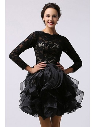 Chic A-line Scoop Neck Short Prom Dress With Long Sleeves
