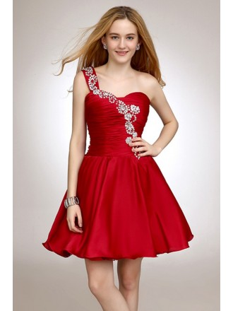 A-line One-shoulder Satin Short Prom Dress With Beading