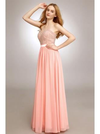 A-line Sweetheart Chiffon Floor-length Prom Dress With Beading