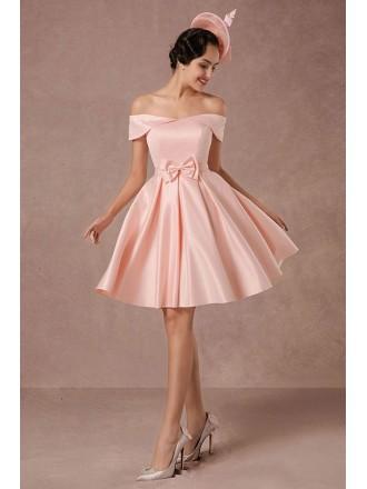 A-line Off-the-shoulder Satin Short Formal Dress