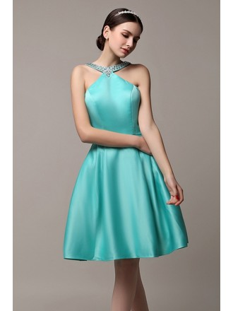 A-line Halter Satin Short Prom Dress With Beading