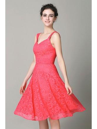 A-line V-neck Lace Knee-length Bridesmaid Dress