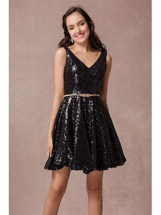 A-line V-neck Sequined Short Formal Dress With Open Back