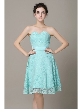 A-line Sweetheart Lace Knee-length Bridesmaid Dress