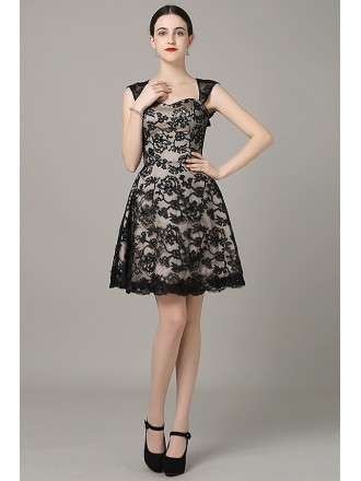 A-line Sweetheart Lace Short Formal Dress With Open Back