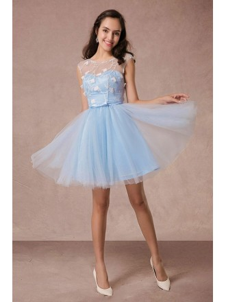A-line Scoop Neck Tulle Short Formal Dress With Flowers