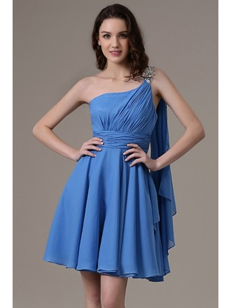 A-line One-shoulder Chiffon Short Bridesmaid Dress