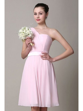 A-line One-shoulder Chiffon Knee-length Bridesmaid Dress
