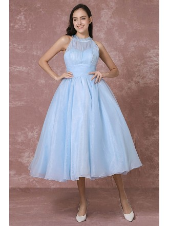 Vintage A-line Halter Organza Tea-length Bridesmaid Dress