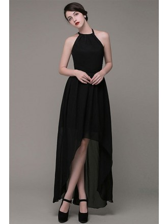 A-line Halter Chiffon High Low Bridesmaid Dress