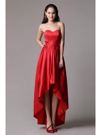 Chic A-line Sweetheart Satin High Low Formal Dress