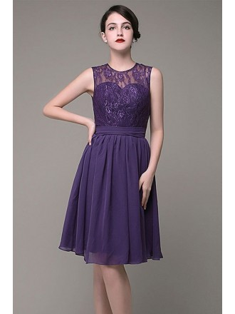 A-line Round Neck Lace Knee-length Bridesmaid Dress With Open Back