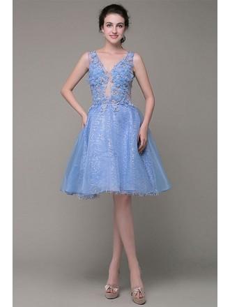 A-line V-neck Organza Knee-length Prom Dress With Sequins