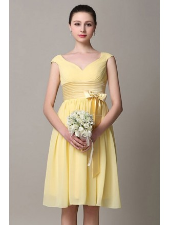 A-line V-neck Chiffon Knee-length Bridesmaid Dress With Cap Sleeves