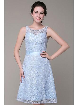 A-line Scoop Neck Lace Short Bridesmaid Dress
