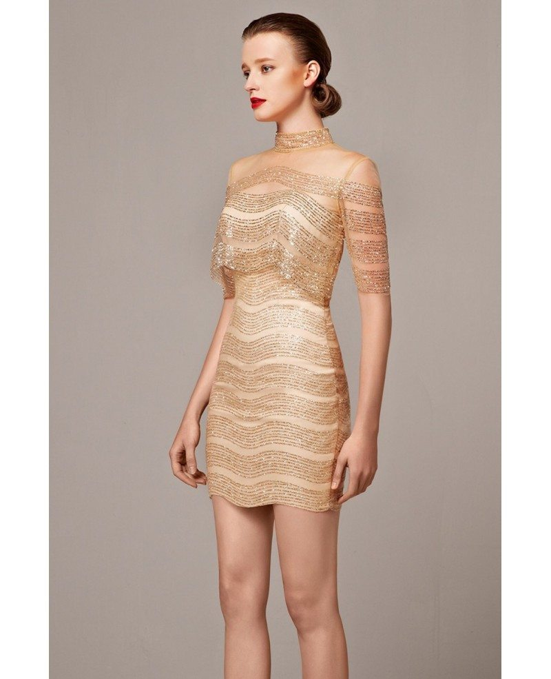Gold Sheath High Neck Cocktail Mini Dress with Sleeves
