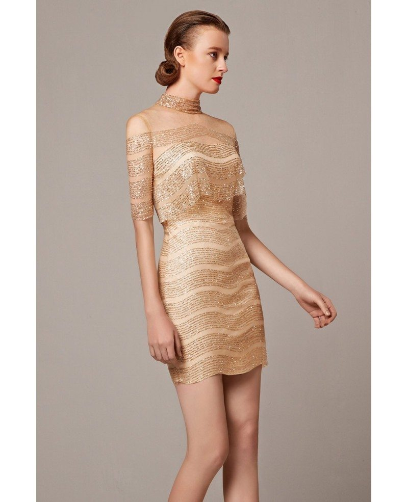 Sparkly Gold Sheath High Neck Cocktail - 85.1KB