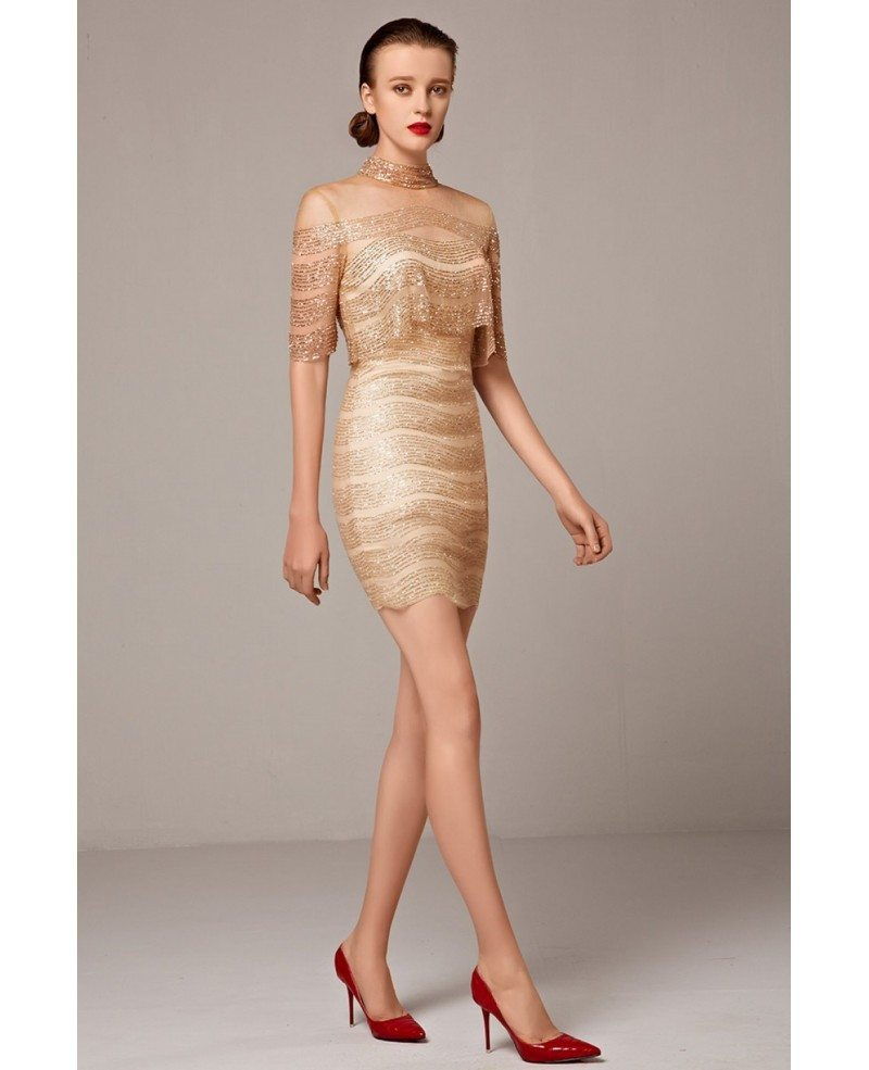 Sparkly Gold Sheath High Neck Cocktail Mini Dress with Sleeves