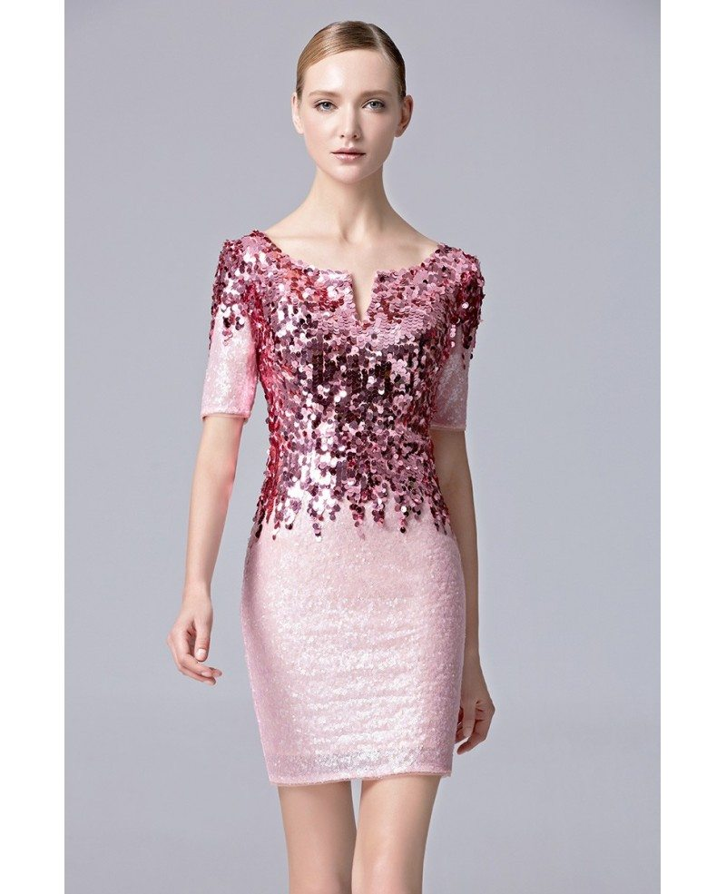 Sheath Sparkle Sequined Pink Party Short Dress with Sleeves