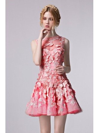 Beautiful Floral Appliques Short Tulle Party Dress