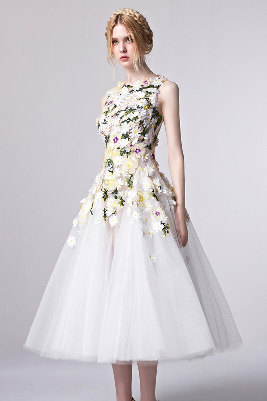 gorgeous floral appliqued tea length tulle party dress