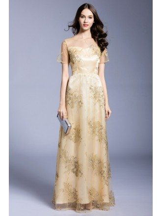 Gold A-line Scoop Neck Embroidery Floor-length Evening Dress